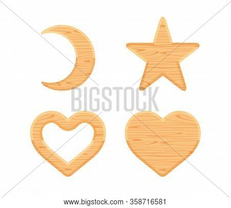 Wooden Crescent Moon, Star Wood Cute, Heart Shaped Wood, Wooden Heart Frame Shape Brown Retro, Diffe