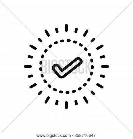 Black Line Icon For Check True Checklist Mark Sign Choice Accept Agree Approved Confirm
