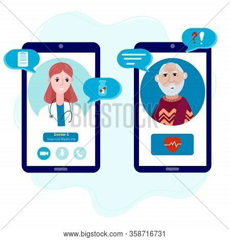 Senior Talking By Mobile Phone With A Doctor Online From Home. Concept Of Telemedicine, Medical Trea