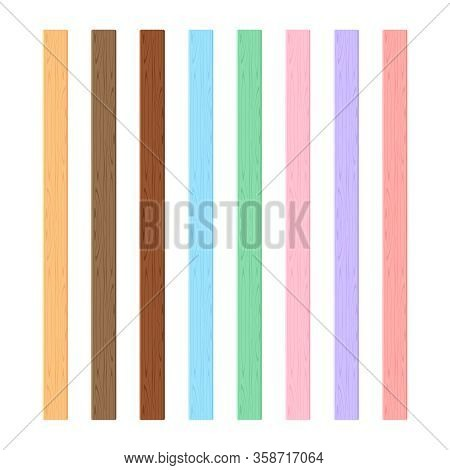 Wooden Plank Different Pastel Soft Colors Isolated On White Background, Wooden Slat Poles Pastel Col