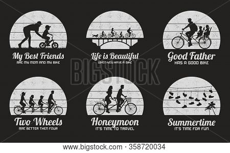 People On Bikes. Set Of Black And White Retro Illustrations With Silhouettes Of Cyclists On Bicycles