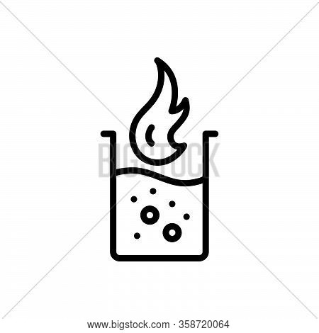 Black Line Icon For Literally Indeed Fact Forsooth Fire Water Container Emblem Liquid Bakeware