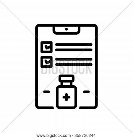 Black Line Icon For Outcome Result Consequences Effect Conclusion Reaction Document Health Checklist
