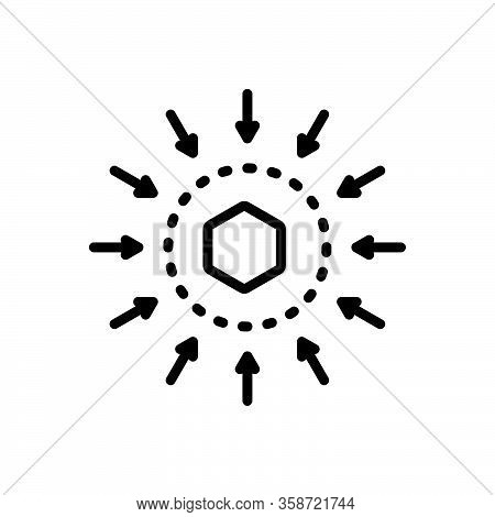 Black Line Icon For Middle Midst Center Between Amid Betwixt Mid In-the-middle Point