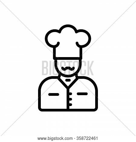Black Line Icon For Chef Kitchen Cooker Restaurant Baker Cap Catering Gourment Professional Masterch