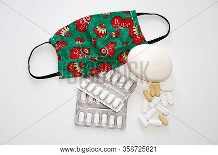 Colorful Medical Mask, Antibacterial Soap And Medicaments - Protective Equipment Against Corona Viru