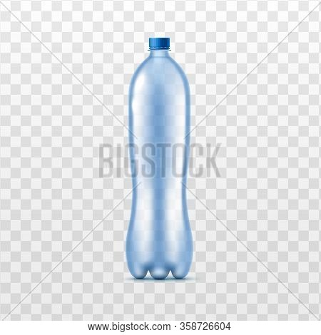 Realistic Blue Plastic Bottle Mockup Isolated On Transparent Background.