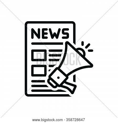 Black Line Icon For Release Megaphone News Advertising Article Press-release Publication Speaker Art