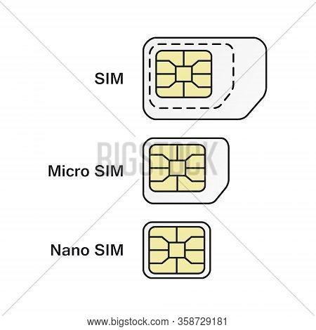 Mobile Phone Card Symbol Set. Normal, Micro, Nano Sim Card Icons.