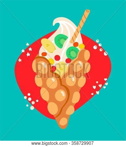 Vector Illustration Hong Kong Waffle. Bubble Wafer With Banana, Kiwi And Sweets. Delicious Snack In
