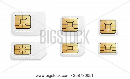 Different Sim Card Size For Mobile Phone. Standard, Micro And Nano Mobile Card.