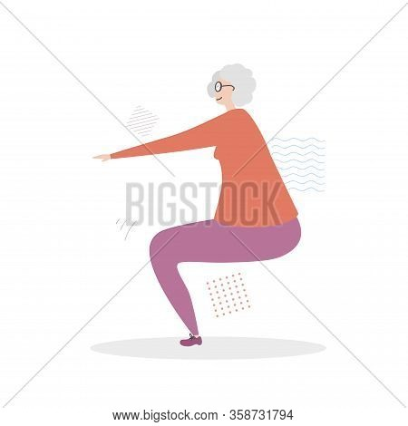 Flat Vector Illustration Senior Fitness. Cute Grandmother Doing A Squat Exercise. Active Lifestyle F