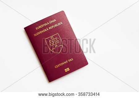 Slovak Passport On White Background, Eu Passport