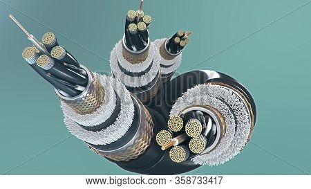 3d Illustration, Concept Of Fiber Optic Cable On A Colored Background. Future Cable Technology. Deta