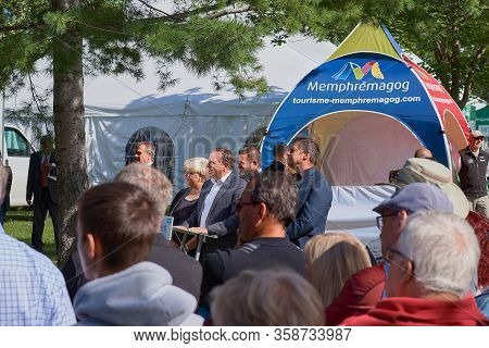 Magog, Quebec, Canada - September 8, 2018: Candidate To Post Prime Minister, Francois Lego Meeting W