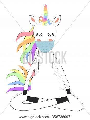 Cute Unicorn Wearing Medical Mask Cartoon Character Vectors With Pastel Rainbow. Coronavirus Covid-1