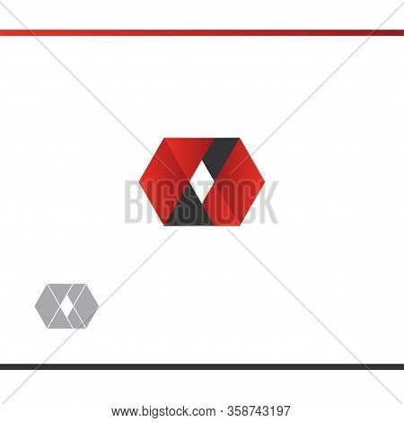 Octagon, Rhombus Abstract Logo Design. Red And Black Colour. Geometric Style. Vector Logo Design Tem