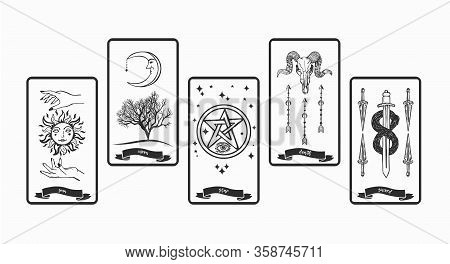 Tarot Cards Collection For Fortunetelling. Tarot Card With Symbols Vector Illustration.