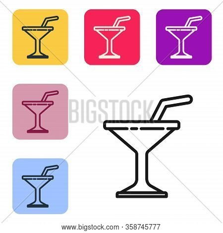Black Line Martini Glass Icon Isolated On White Background. Cocktail Icon. Wine Glass Icon. Set Icon