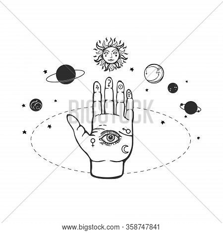 Palm With Eye Of Providence Surrounded By Planets. Eye Of Providence Hand Palm Vector Illustration.