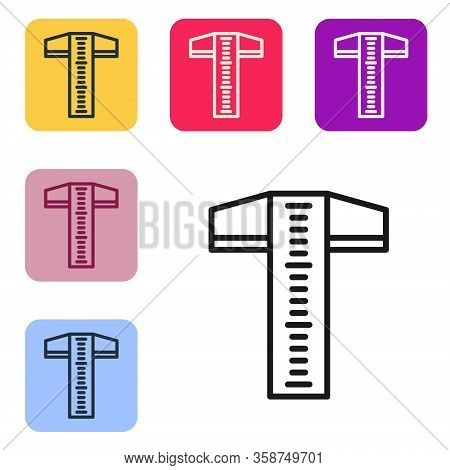 Black Line T-square Line For Professional Drafting Icon Isolated On White Background. Set Icons In C