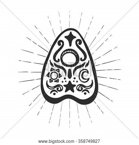 Ouija Pointer Isolated On White Background.  Element For Pagan, Occult Magic, Halloween Or Witchcraf