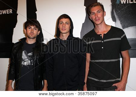 HOLLYWOOD, CA - AUGUST 13: Cobra Starship arrives at the will.i.am Album Wrap Party at The Avalon on August 13, 2012 in Hollywood, California.