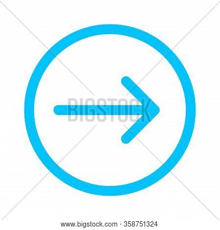 Arrow Line Pointing Right In Circle Blue Isolated On White, Arrow In Circular Strokes For Direction