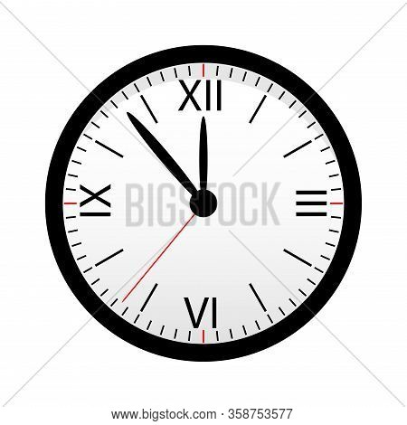 Black Watch With Arrows And Dial Isolated On A White Background. Design Element.
