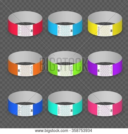 Blank Paper Event Bracelet Set. Luminance Colors Hand Band Ids, Branding Papers Bracelets For Entran