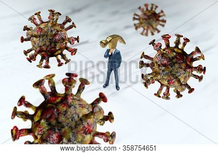 Ignorant Hammer Head Businessman Ignoring The Coronavirus Epidemic Concept