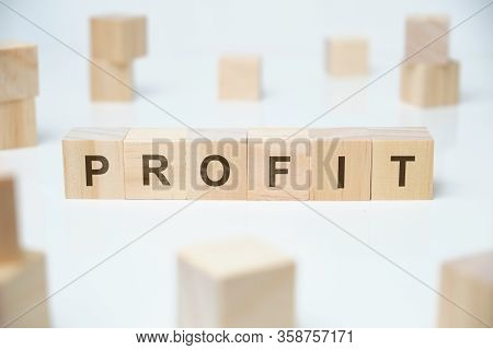 Modern Business Buzzword - Profit. Word On Wooden Blocks On A White Background. Close Up.