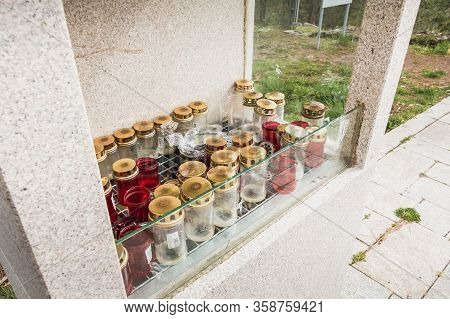 Candlestick Protected By A Glass Outside The Chapel Of S. Lourenco In Vila Cha, Portugal