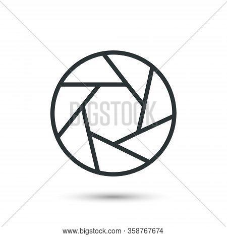 Aperture Black Icon. Camera Lens Diaphragm, Vector