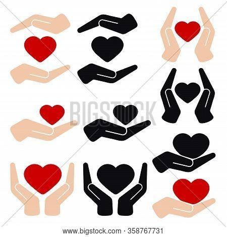Hands Holding Heart Flat Vector Icon Isolated On White Background. Healthcare Organ Donation Concept