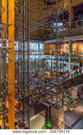 Hong Kong, China - January 20, 2016: Hong Kong Science Museum Interior View. Attraction Emulating Ph
