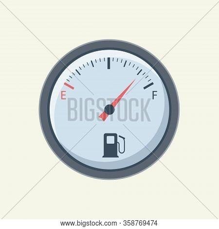 Flat Fuel Gauge. Fuel Meter Car. Vector