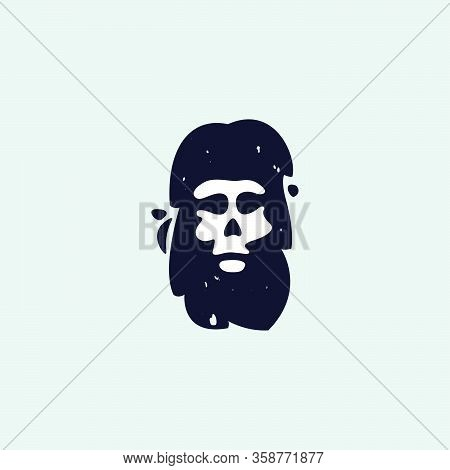 Letter I Logo With Skull Face. Hand Written Shaggy Grunge Style. Perfect Typeface For Horror Labels,