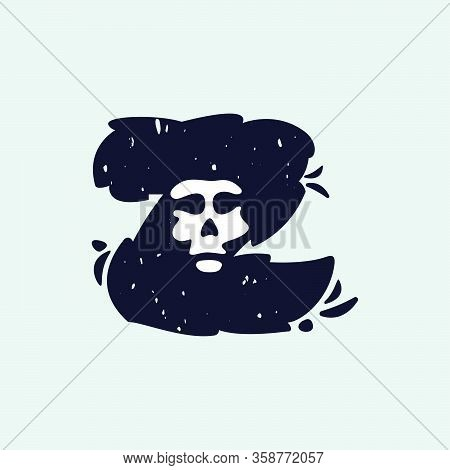 Z Letter Logo With Skull Face. Hand Written Shaggy Grunge Style. Perfect Typeface For Horror Labels,