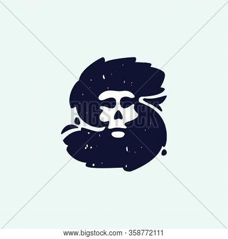 S Letter Logo With Skull Face. Hand Written Shaggy Grunge Style. Perfect Typeface For Horror Labels,