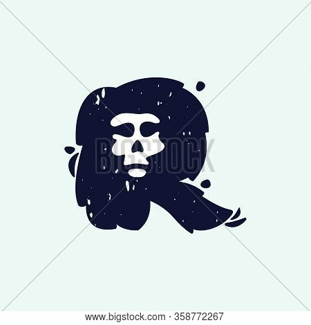 R Letter Logo With Skull Face. Hand Written Shaggy Grunge Style. Perfect Typeface For Horror Labels,