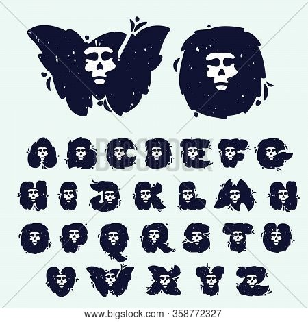 Alphabet With Skull Face. Hand Written Shaggy Grunge Style. Perfect Typeface For Horror Labels, Fear