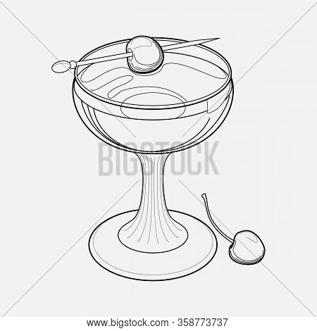 Manhattan Cocktail Icon Line Element. Vector Illustration Of Manhattan Cocktail Icon Line Isolated O