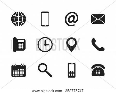 Contact Icons. Contact Information Icons. Vector Illustration