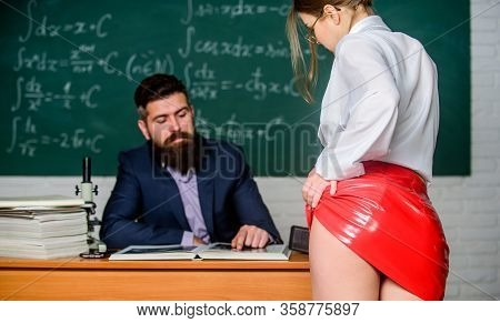 Sexy Butt Red Latex Skirt In Front Of Teacher. Looking For Help With Homework. Seductive Offer. Sexu