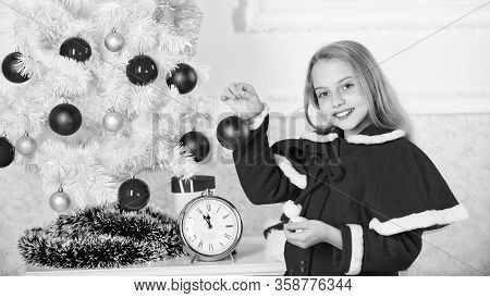 Child Celebrate Christmas At Home. Favorite Day Of The Year. Christmas Celebration. Kid Girl Festive