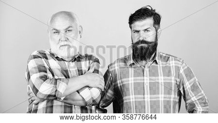 Hipster Fashion. Male Beard Care. Checkered Fashion. Barbershop And Hairdresser Salon. Two Bearded M