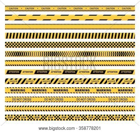 Caution Tape Vector Design Of Yellow And Black Construction Warning Line, Police, Safety, Danger And
