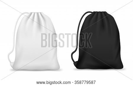 Drawstring Bag, Backpack Or Pouch Vector Mockups. Realistic White And Black Sport Bags, Blank Canvas