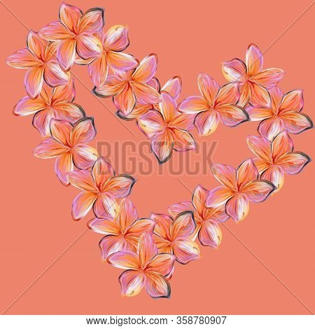 Pink With Yellow Frangipani Plumeria Flowers In Shape Of Heart On Pink Background.valentine Card. Mo
